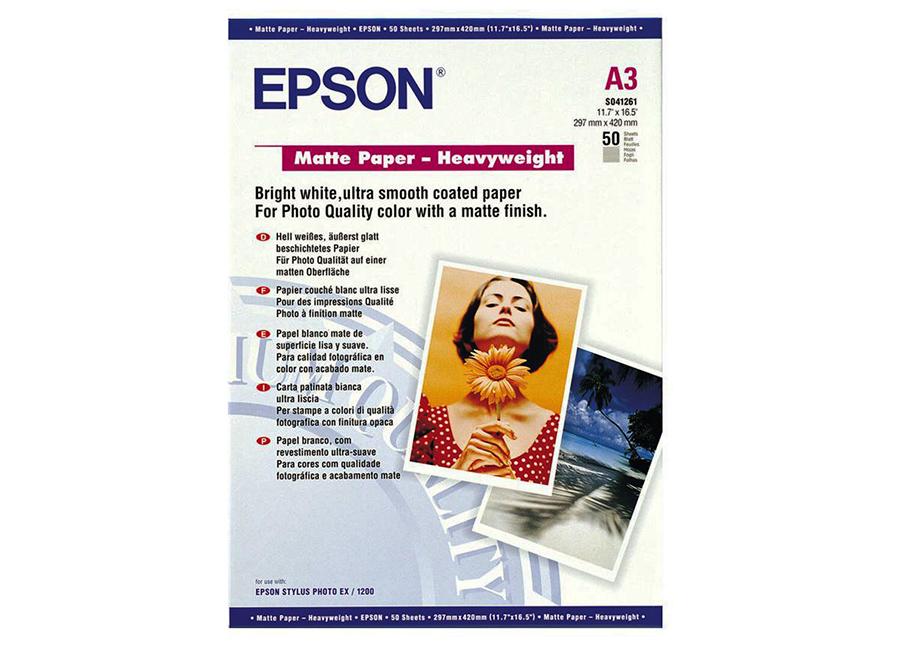 Epson Matte Paper-Heavyweight, A3, 167 г/м2, 50 листов (C13S041261)