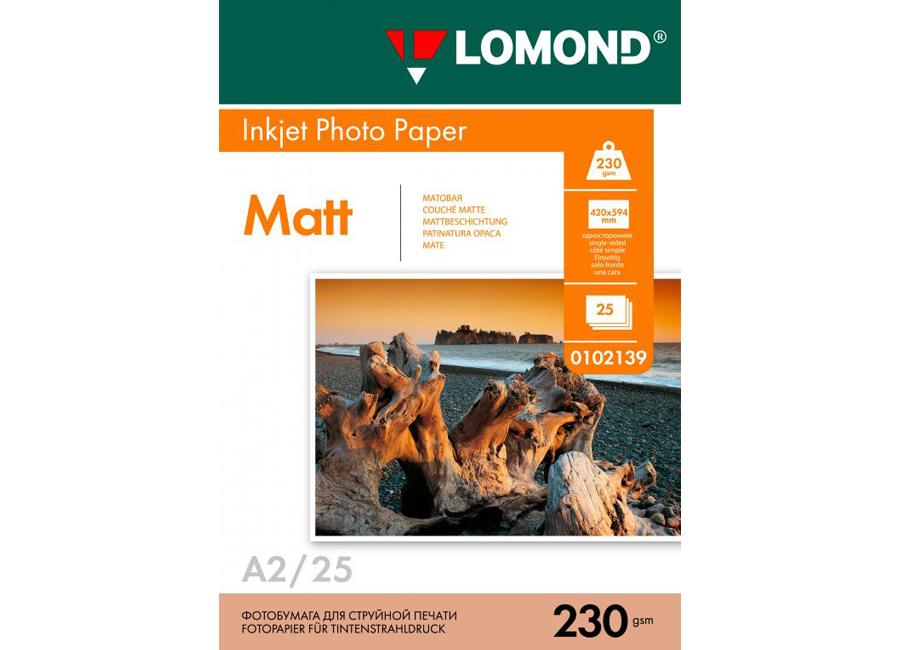 Фото - Lomond для струйной печати, A2, 230 г/м2, 25 листов, односторонняя, матовая (0102139) lomond для струйной печати a2 100 г м2 25 листов двусторонняя матовая матовая 0102137