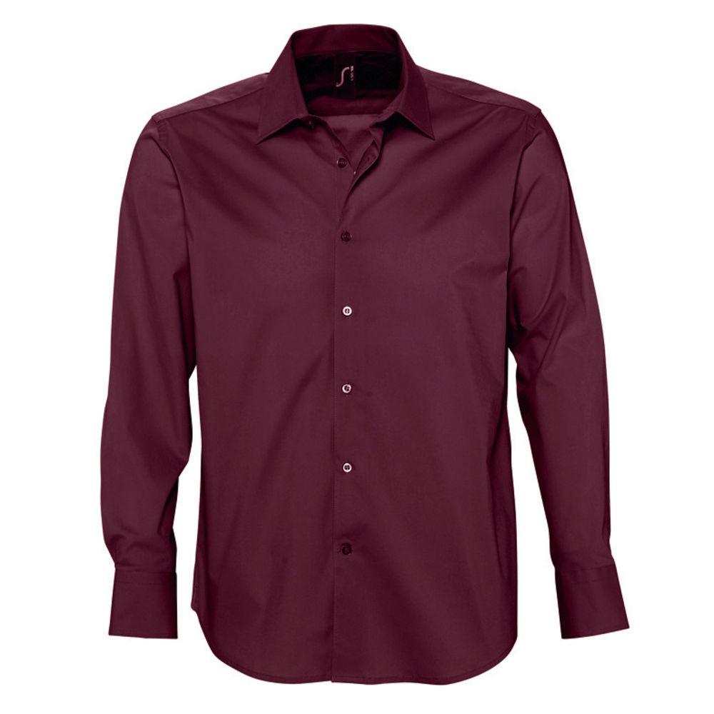 Рубашка мужская с длинным рукавом BRIGHTON, бордовая, размер XL