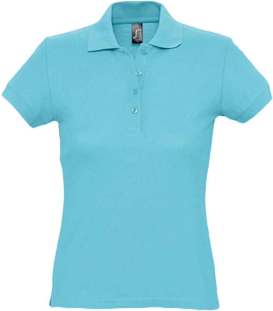 цена Рубашка поло женская PASSION 170 бирюзовая, размер XL онлайн в 2017 году