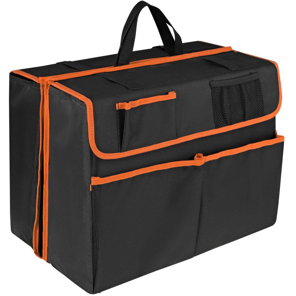 Органайзер в багажник автомобиля Carmeleon, черный с оранжевым фото
