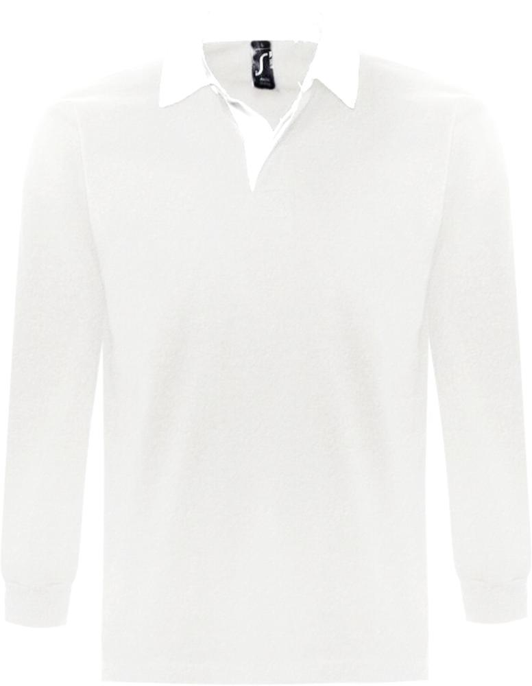 Рубашка поло мужская с длинным рукавом PACK 280 белая, размер XL