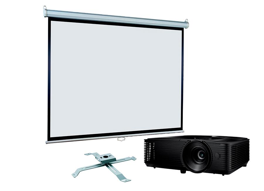 Экран ViewScreen Scroll 160x160 MW в комплекте с проектором Optoma S371 и креплением Fix PRB-13