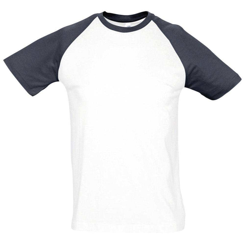 Футболка мужская двухцветная FUNKY 150, белый/темно-синий, размер XL
