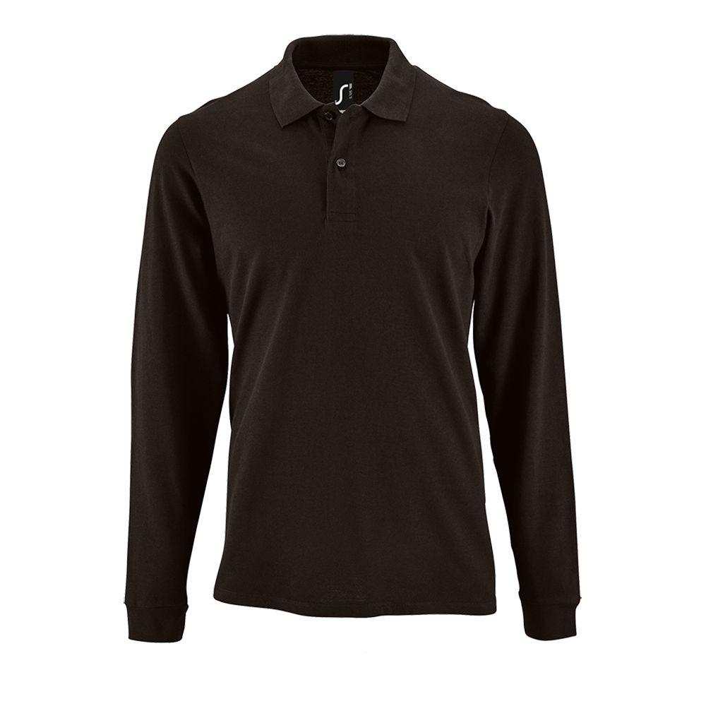 Рубашка поло мужская с длинным рукавом PERFECT LSL MEN черная, размер M