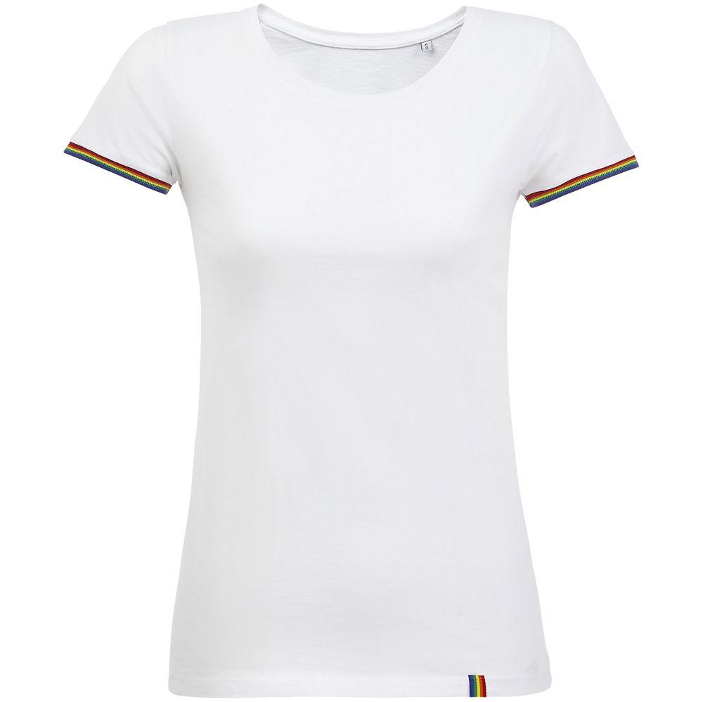 Футболка женская Rainbow Women, белая с многоцветным, размер XXL