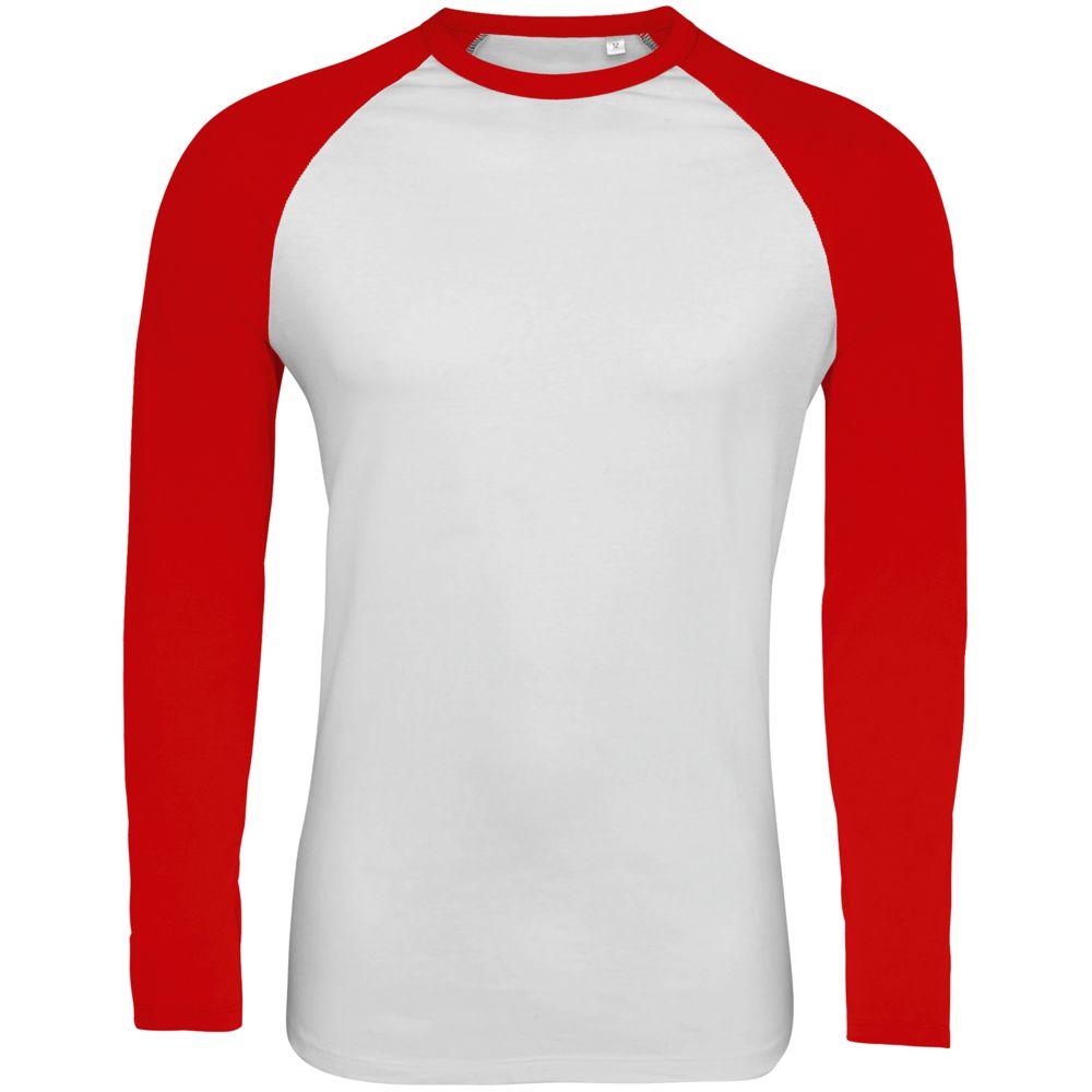 Футболка мужская с длинным рукавом FUNKY LSL белая с красным, размер S