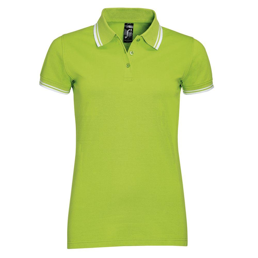 Рубашка поло женская PASADENA WOMEN 200 с контрастной отделкой, зеленый лайм/белый, размер M рубашка женская top secret цвет зеленый ske0040zi размер 34 42