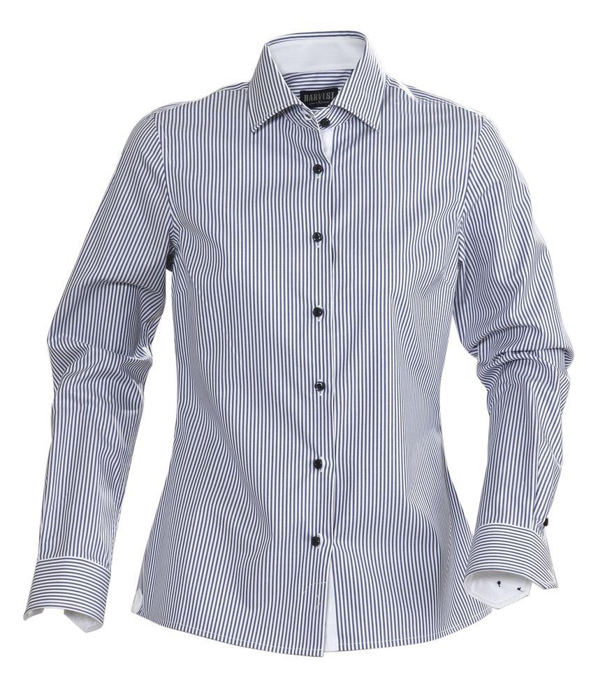 Рубашка женская в полоску RENO LADIES, темно-синяя, размер S