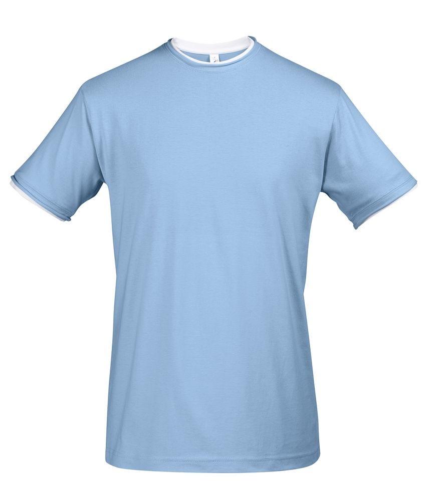 цена Футболка мужская с контрастной отделкой MADISON 170, голубой/белый, размер XL онлайн в 2017 году