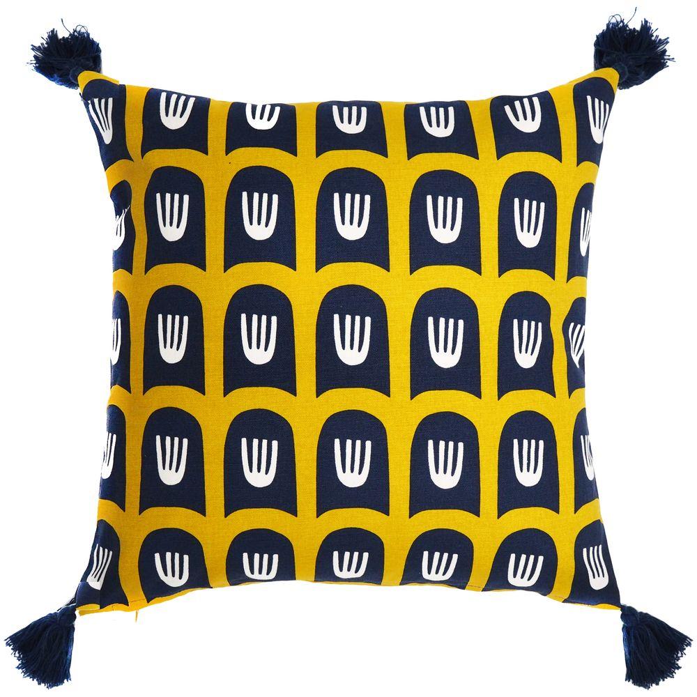 Фото - Чехол на подушку Blossom Time, горчичный с темно-синим плейсмат nothing shop темно синий горчичный